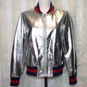 Love, Fire Metallic Silver Chrome Bomber Jacket